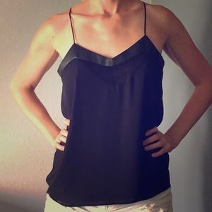 """Black """"Barcelona"""" Tank with Faux Leather Trim"""